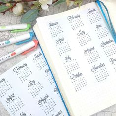This year at a glance calendar sticker is perfect for the first page in your A5 notebook, planner or Bullet Journal