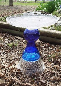 Upcycled Garden Art Vintage Glass Dish OOAK Birdbath #2 Recycled Repurposed Vase