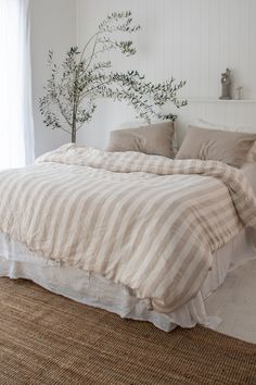 Bedroom Pure Linen Sheets & Bedding Linen Sheet Sets : Our French Linen sheets in Natural Thick Stripes. Bringing back neutral tones combined with a touch of nature. Linen Bedroom, Home Bedroom, Nature Bedroom, Neutral Bedroom Decor, Neutral Bedding, Neutral Bedrooms, Bedroom Rustic, Linen Duvet, Master Bedrooms