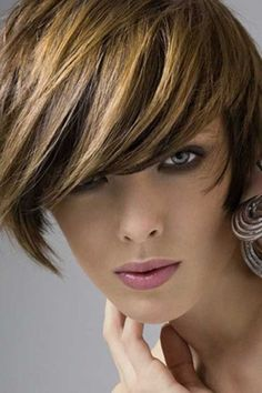 Brown Short Hair with Golden Highlights