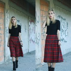 Jeffrey Campbell Boots, Front Row Shop Skirt, Handmade Cropped Sweater