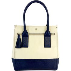 Pre-owned Kate Spade Navy & Cream Patterned Leather Tote ($119) ❤ liked on Polyvore featuring bags, handbags, tote bags, block design, navy blue leather tote, leather purse, kate spade handbag, handbags totes and genuine leather tote