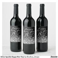 Silver Sparkle Happy New Year Wine Label Personalized Wine Labels, Wine Bottle Labels, Party Items, New Years Party, Photo Quality, Etsy Handmade, Happy New Year, Keep It Cleaner, Colorful Backgrounds