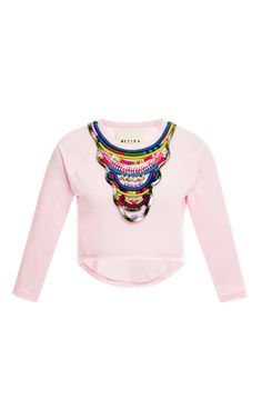 Shop M'O Exclusive: Igorot Cropped Embellished Sweatshirt by Betina Now Available on Moda Operandi