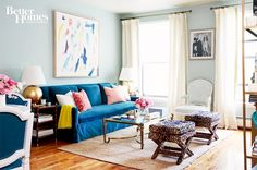 Nicole Gibbons of So Haute keeps her NYC living chic with pops of a color (that teal couch though...) and printed furniture