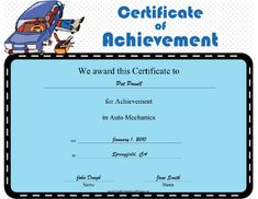 This Auto Mechanics Achievement certificate features a mechanic on a dolly under a car with a box of tools sitting off to the side. It's a great way to honor excellence in auncncnnncto repair, either in a professional program or for an established mechanic. Free to download and print