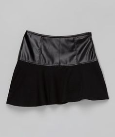 Look what I found on #zulily! Black Faux Leather-Panel Skirt - Girls by Cutie's Fashions #zulilyfinds