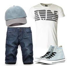 """""""Untitled #1410"""" by moria801 ❤ liked on Polyvore featuring Giorgio Armani, Forever 21 and Converse"""