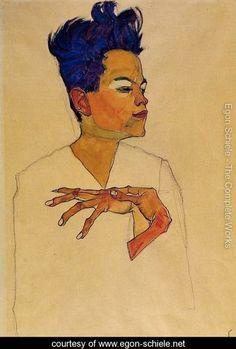 Self Portrait With Hands On Chest - Egon Schiele - www.egon-schiele.net