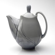 "Jeff Campana  |  ""Grey Leaf Teapot"", porcelain (2012).  Just for the shape of it!"