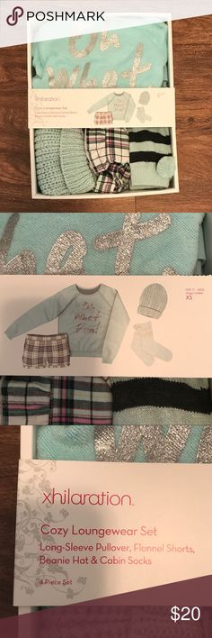 """Four piece loungewear set Four piece loungewear set. Comes with sweater, socks, beanie, and plaid shorts. Sweater says """"oh what fun!"""" Perfect for lounging around the house. Never been opened Xhilaration Intimates & Sleepwear Pajamas"""