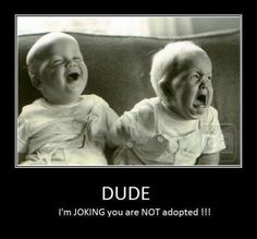 Dude I'm JOKING you are NOT adopted!!