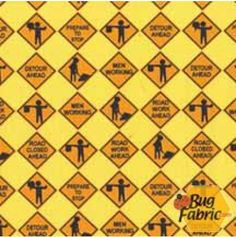Construction Signs - Michael Miller Fabrics 4391 yellow -- 1 yard 5 inches remaining for $11.00