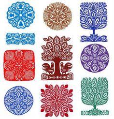 Russian folk block prints
