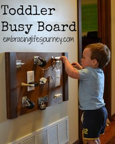 Embracing Life's Journey: Toddler Busy Board for niece or newphew! Toddler Rooms, Toddler Fun, Toddler Activities, Toddler Boy Room Ideas, Board Skate, Busy Boards For Toddlers, Toddler Busy Board, Business For Kids, Future Baby