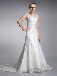 <b>Sunshine</b>- Elegant Sabrina Neckline A line Lace Bridal Dress with Cap Sleeves