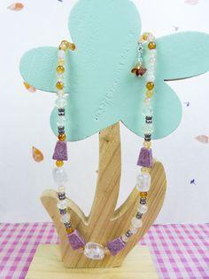Thuliet Zoisiet edelsteen, kwarts en agaat edelsteen ketting via Birdie Accessoires
