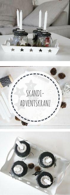 Skandi Adventskranz selber machen: Mit dieser Schritt für Schritt Anleitung ist ein skandinavischer Adventskranz schnell gemacht. Der Adventskranz im Glas hat den großen Vorteil, dass er nicht nadelt und die ganze Adventszeit hübsch bleibt. Die Idee Weihnachten im Glas lässt sich auch als Weihnachtsdeko für den Tisch basteln.