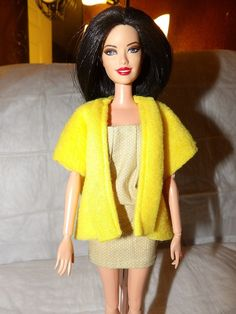 Fashion Doll Coordinates  Yellow Fleece vest by KelleysKreationsLV