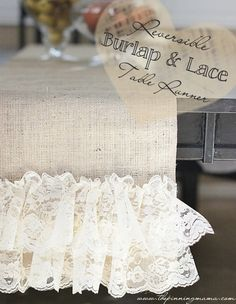 20 Lace Tutorials - U Create - 20 Lace Tutorials – reversible burlap and lace table runner tutorial Burlap Projects, Burlap Crafts, Sewing Projects, Burlap Lace Table Runner, Lace Runner, Farmhouse Table Runners, Crafts To Make, Diy Crafts, Decor Crafts