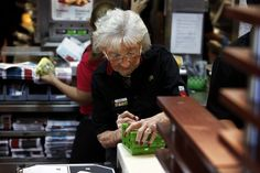 World's oldest McDonald's worker?  Doris Pells, 91, works six days a week for about three hours at a time at the Park Shore McDonald's in Naples FL. 'It keeps me younger working here,' she said.