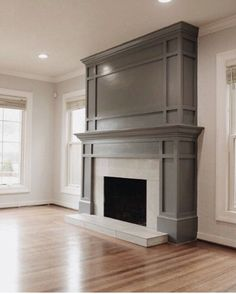 Such a pretty living room design. Lots of natural light from the windows. Grey fireplace with molding. Home design decor inspiration ideas. Grey Fireplace, Paint Fireplace, Home Fireplace, Fireplace Remodel, Fireplace Surrounds, Fireplace Design, Fireplace Ideas, Craftsman Fireplace, Fireplace Molding