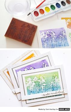 Paint watercolors directly onto a stamp for an artistic look!