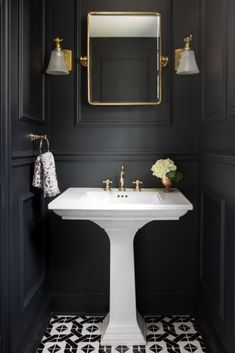 It's much harder to decorate tiny bathroom comparing to a big one, but it's not impossible for sure and we are going to prove you. Just check these best tiny bathroom ideas. Powder Room Decor, Powder Room Design, Dark Bathrooms, Beautiful Bathrooms, Downstairs Bathroom, Small Bathroom, Bathroom Ideas, Art Deco Bathroom, Black Powder Room