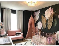 Sorry, Pastels: These 9 Spaces Prove Black Is The Trendiest New Nursery Color Baby Nursery Themes, Baby Decor, Girl Nursery, Nursery Rhymes, Nursery Ideas, Nursery Decor, Baby Bedroom, Kids Bedroom, Kids Rooms