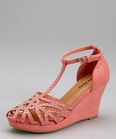 Look at this #zulilyfind! Coral Cage-Toe Wedge Sandal - Women by TOP MODA #zulilyfinds