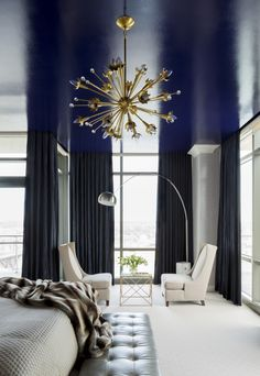 Stunning chandelier completes the lacquered ceiling in the penthouse master bedroom I designed in Little Rock | Tobi Fairley Interior Design