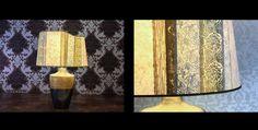 #Lampada etnica, platino e craquele in oro zecchino. Paralume moderno con carta etnica. #Lampshade #Handmade in #Italy by Sini