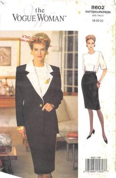 Both loose-fitting with extended, padded shoulders. Unlined, below hip jacket has contrast notched collar & facings; princess seams; long, 2-piece effect sleeves. Below mid-knee dress, has contrast, l