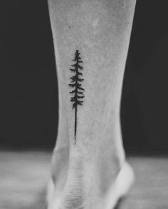 Pine tree ankle tattoo! @stellatxttoo Stella Luo Tattoos