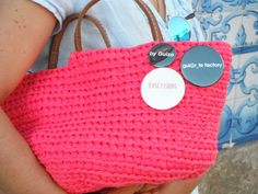 https://flic.kr/p/uiTRfB | by me l byGuizo (facebook) | hand-made baskets - ice cream color collection   cotton l leather  in raspberry...  ÍCONE FASHION