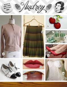 Audrey Horne Style on etsy!  [1. 1960s Vintage Fawn Cardigan; 2. Vintage Pleated Wool Plaid Skirt; 3. Vintage Cherry Brooch; 4. Vintage 1950s Hot Roller Set; 5.Vintage Red Leather Kitten Heels; 6. Vintage White Lace Merry Widow; 7. Tortoise & Rhinestone Hair Combs; 8. Two-Tone Patent Leather Oxfords; 9. Red Velvet Healing Lipstick; Header: Audrey Horne Buttons]  via