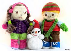 Crochet Amigurumi Christmas Set of Girl & Boy Dolls. Winter Toys and Cute, Colorful Winter Nursery Decor. Free Snowman! on Etsy, 72 USD