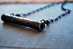 Thai Prayer Scroll Necklace on Handmade Garnet Beaded Long Gemsonte Chain Boho Lotus Bud Oxidized Silver Jewelry Rosary Bhuda Tribal Ethni by letemendia on Etsy