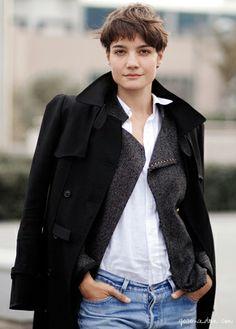 Konca Aykan, short hair, white button down, oversize coat / Garance Doré