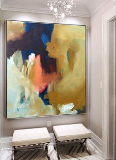 Hand Painted Large Original Painting, Abstract Art, Acrylic Painting on Canvas, XL large Canvas Art. Custom Warm colour palette earthy tones #abstractart #OilPaintingAbstract
