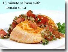 15-Minute Salmon with Tomato Salsa: salmon, lemon juice, tomato, onion, garlic, jalapeno, ginger, cilantro, pumpkin seeds, oil of choice