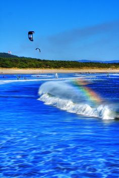 Cabedelo beach, Viana do Castelo - PORTUGAL. Atlantic waves 365 days per year. Beautiful Rainbow...