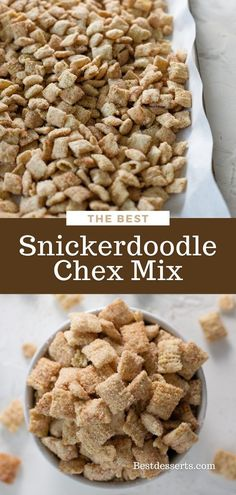 This is a lightning-fast sweet snack to make for any occasion! Snickerdoodle Chex Mix was inspired by the taste of snickerdoodle cookies and the method to make puppy chow (muddy buddies). The results are addicting little morsels of crunchy sweet goodness.