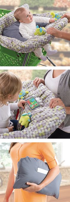 Comfy shopping cart cover, and a protective place for the iPhone grey and white baby, toddler, registry item