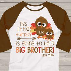 Thanksgiving shirt, big brother turkey pregnancy announcement raglan shirt