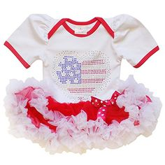 dc23247343c0 So Sydney Baby Girls Patriotic Tutu Chiffon Ruffle Skirt Bodysuit July 4  Romper  This adorable romper with tutu ruffle tutu detail is the picture  perfect ...