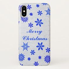 Falling Snow Blue Merry Christmas iPhone X Case - merry christmas diy xmas present gift idea family holidays
