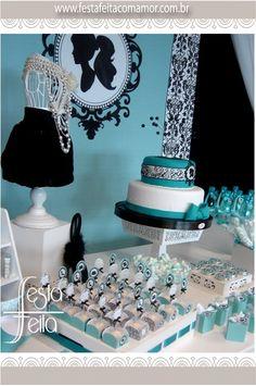 Festa Barbie Vintage em Azul Tiffany | Festa Feita! Papelaria personalizada para festas! Com Amor para você!