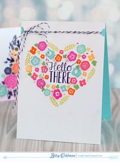 Mini Blooms Revisited: Hello There Card by Betsy Veldman for Papertrey Ink (March 2015)