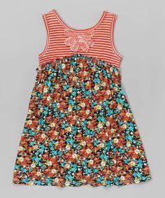 Love this Coral & Blue Floral A-Line Dress -  Girls on #zulily! #zulilyfinds